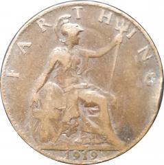 1 фартинг 1919 Великобритания VF