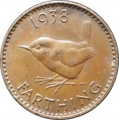 1 фартинг 1938 Великобритания VF