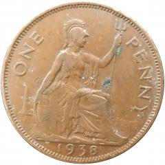 1 пенни 1938 Великобритания VF