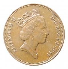 2 пенса 1989 Великобритания VF