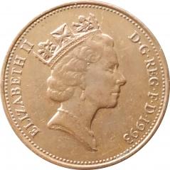 2 пенса 1993 Великобритания VF