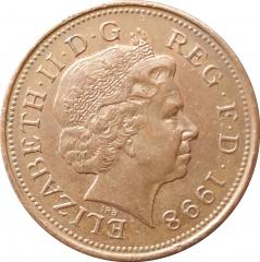 2 пенса 1998 Великобритания VF
