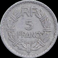 5 франков 1945 Франция VF