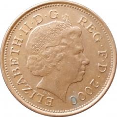 2 пенса 2000 Великобритания VF