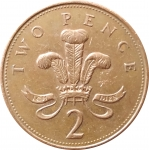 2 пенса 2002 Великобритания VF