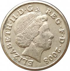 1 фунт 2008 Великобритания VF
