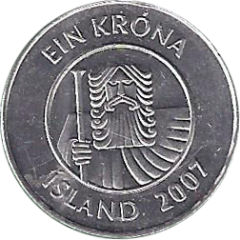 1 крона 2007 Исландия XF