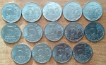 """Набор 5-рублевых монет """"Города-столицы государств"""" - 14 монет 2016 года"""