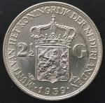 2 1/2 гульдена 1939 Нидерланды Серебро